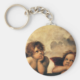 Sistine Madonna, Angels detail by Raphael Basic Round Button Keychain