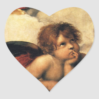 Sistine Madonna, Angels detail by Raphael Heart Sticker