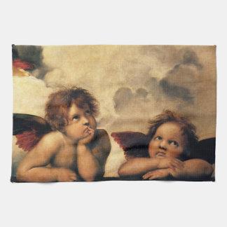 Sistine Madonna, Angels detail by Raphael Kitchen Towel