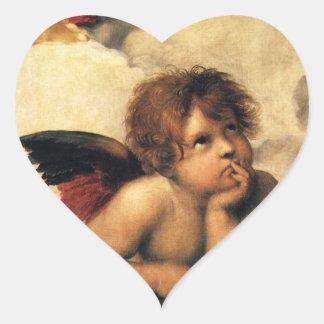 Sistine Madonna, Angels detail by Raphael Heart Sticker