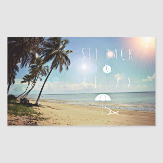 Sit back and Relax Palm Trees on a Tropical Beach Sticker