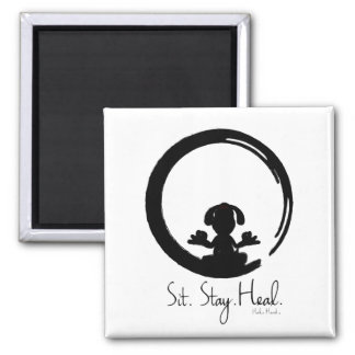 Sit. Stay. Heal. Dog Meditating Magnet Pose