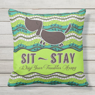 Sit Stay Wag Your Troubles Away Dog Lover Monogram Throw Pillow