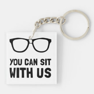 Sit With Us Double-Sided Square Acrylic Keychain