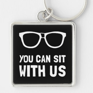 Sit With Us Silver-Colored Square Keychain