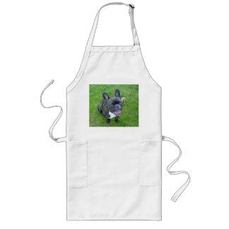 sitting 2 french bulldog long apron