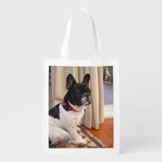 sitting 3 french bulldog.png reusable grocery bag