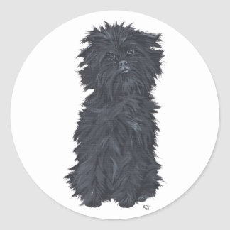 Sitting Affenpinscher Round Sticker