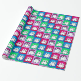 sitting and gleeful white cat cartoon wrapping paper