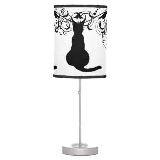 sitting black cat clip art with frame lamp print