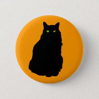 Sitting Black Cat on Orange 2 Inch Round Button