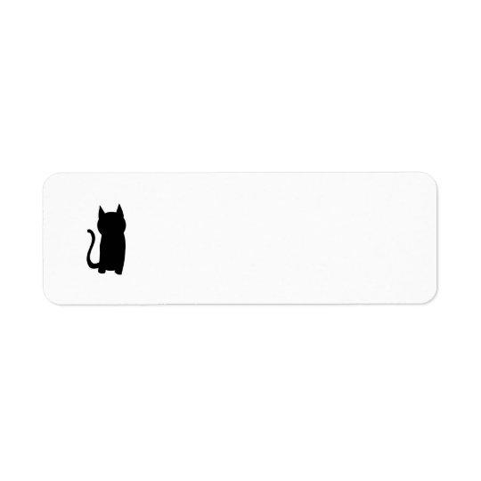 Sitting Black Cat Silhouette. Return Address Label