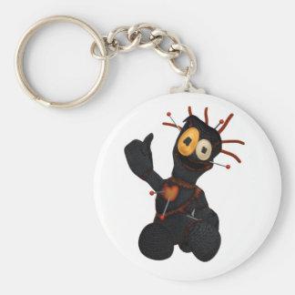 Sitting Black Voodoo Doll Basic Round Button Keychain