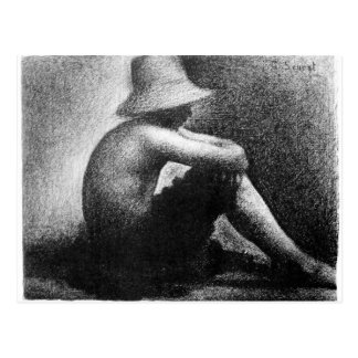Sitting boy in straw hat by Georges Seurat Postcard
