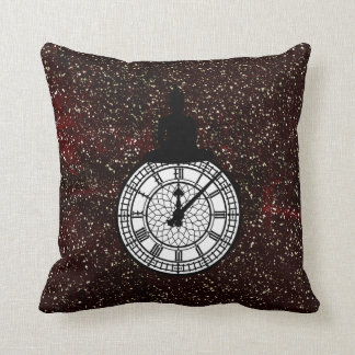 Sitting Budda Londoner Big Ban Clock Burgundy Throw Pillow