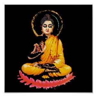 SITTING BUDDHA MEDITATING PEACE POSTER