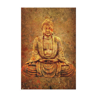 Sitting Buddha On Distressed Metal Background Canvas Print