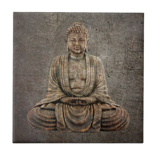 Sitting Buddha On Distressed Metal Background Tile