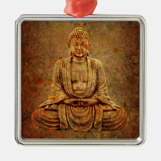 Sitting Buddha With Stone Background Silver-Colored Square Ornament