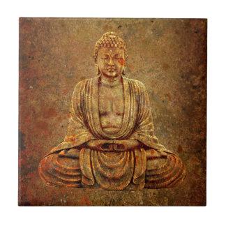 Sitting Buddha With Stone Background Tile