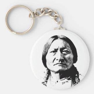 Sitting Bull Basic Round Button Keychain