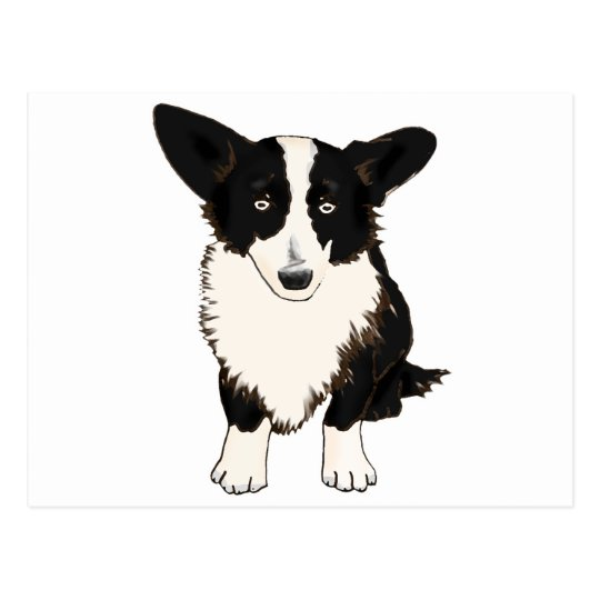 Sitting Cardigan Welsh Corgi Illustration Postcard