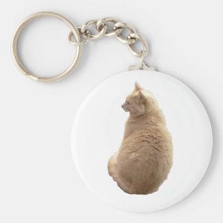 Sitting Cat Basic Round Button Keychain