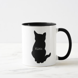 Sitting cat name coffee mug