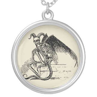 Sitting Demon Silver Plated Necklace