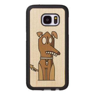 Sitting Doggie Illustration Wood Samsung Galaxy S7 Case