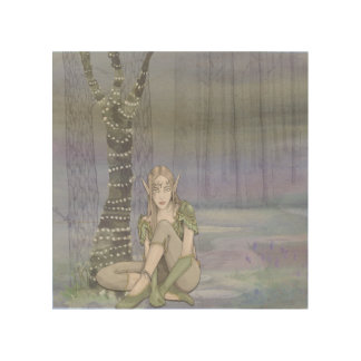 Sitting Elve Watercolor on Wood Wall Art Wood Print