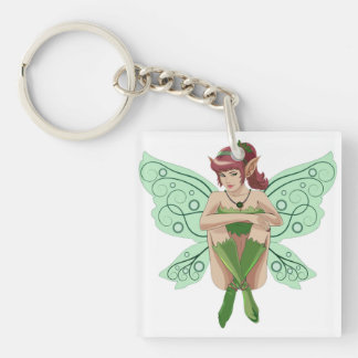 SITTING FAIRY Double-Sided SQUARE ACRYLIC KEYCHAIN