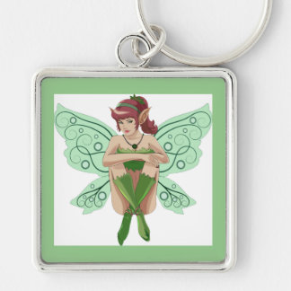 SITTING FAIRY Silver-Colored SQUARE KEYCHAIN