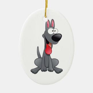 Sitting Gray Cartoon Dog Ceramic Ornament