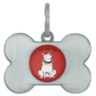 sitting guard dog cartoon pet ID tag