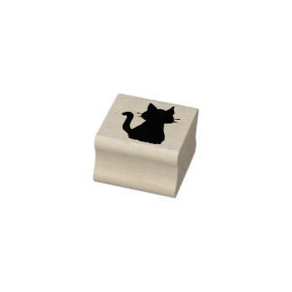 Sitting Kitty Cat Silhouette Rubber Stamp