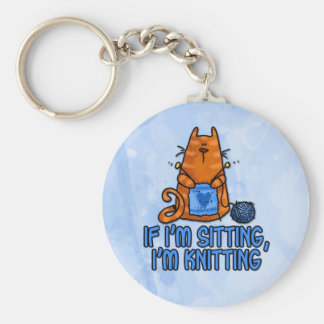 sitting knitting basic round button keychain