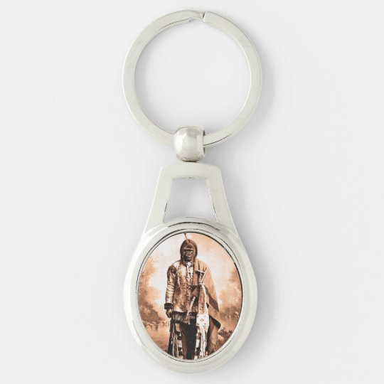 Sitting Kong Silver-Colored Oval Keychain