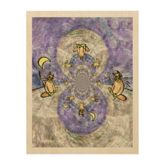 Sitting Meditating Cat And The Moon Kaleidoscope Wood Wall Art