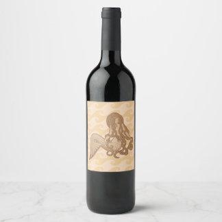 Sitting Mermaid Beige Wine Label