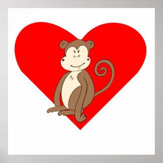 Sitting Monkey Heart Print