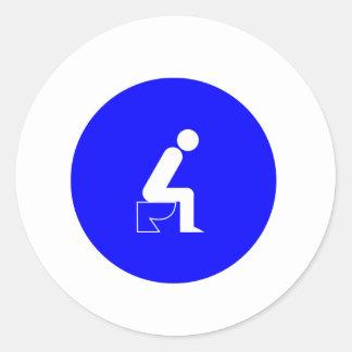 Sitting on Toilet Classic Round Sticker