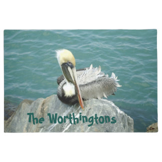 Sitting Pelican Personalized Doormat