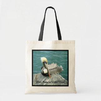 Sitting Pelican Personalized Tote Bag