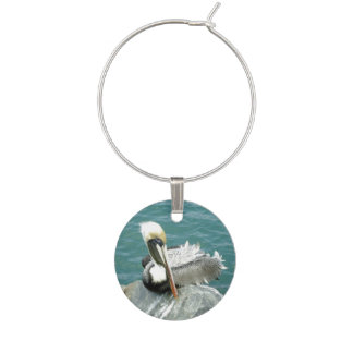 Sitting Pelican Wine Glass Charm