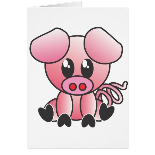 Sitting Piggy Greeting Cards