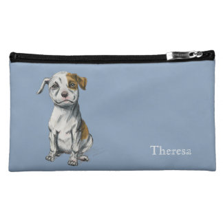 Sitting Pit Bull Puppy Drawing Cosmetic Bags