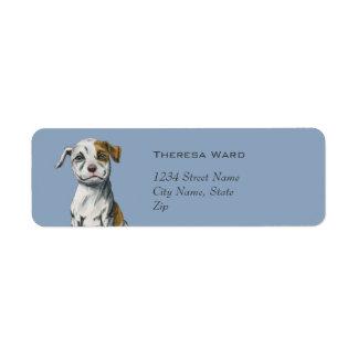 Sitting Pit Bull Puppy Drawing Return Address Label