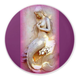 sitting stone mermaid ceramic knob