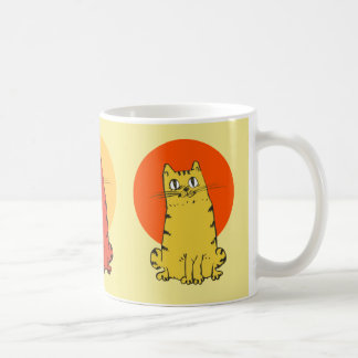 sitting tabby cat cartoon coffee mug